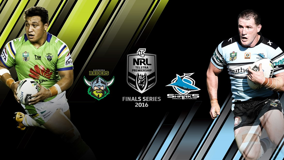 The Raiders and Sharks will meet in an qualifying final in week one of the Telstra Premiership Finals Series.