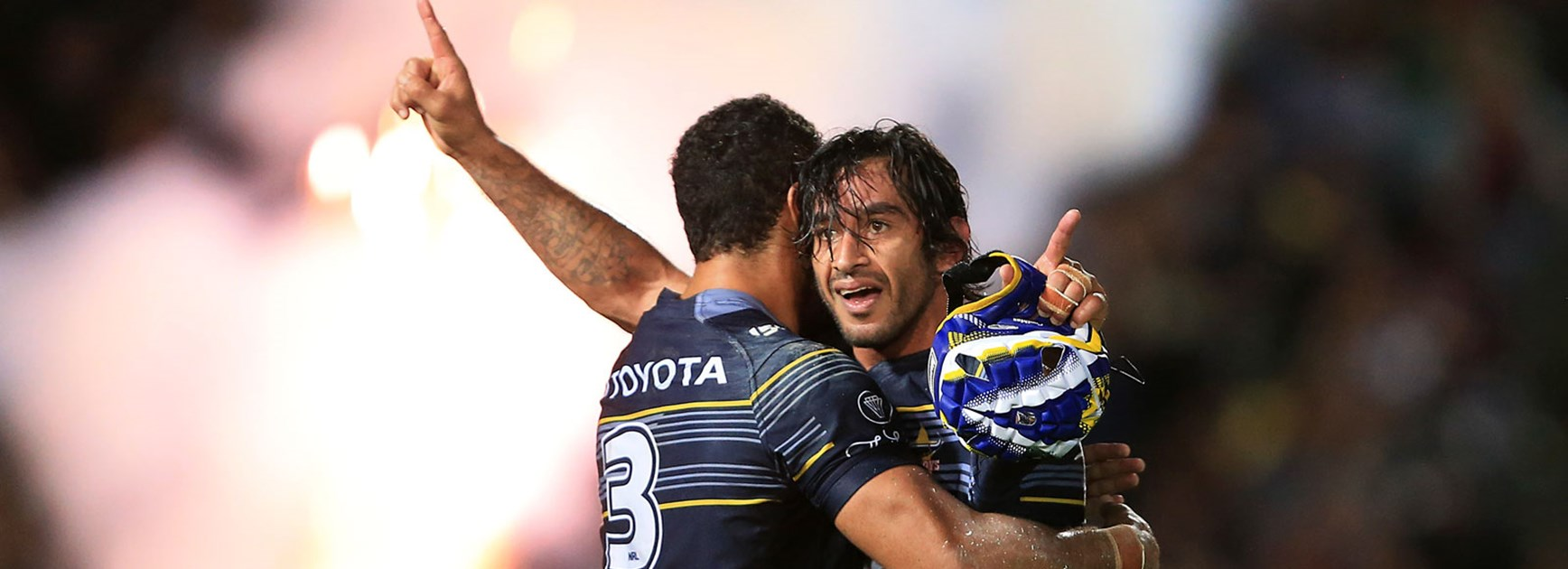 Johnathan Thurston celebrates following the Cowboys' semi-final win over the Broncos.