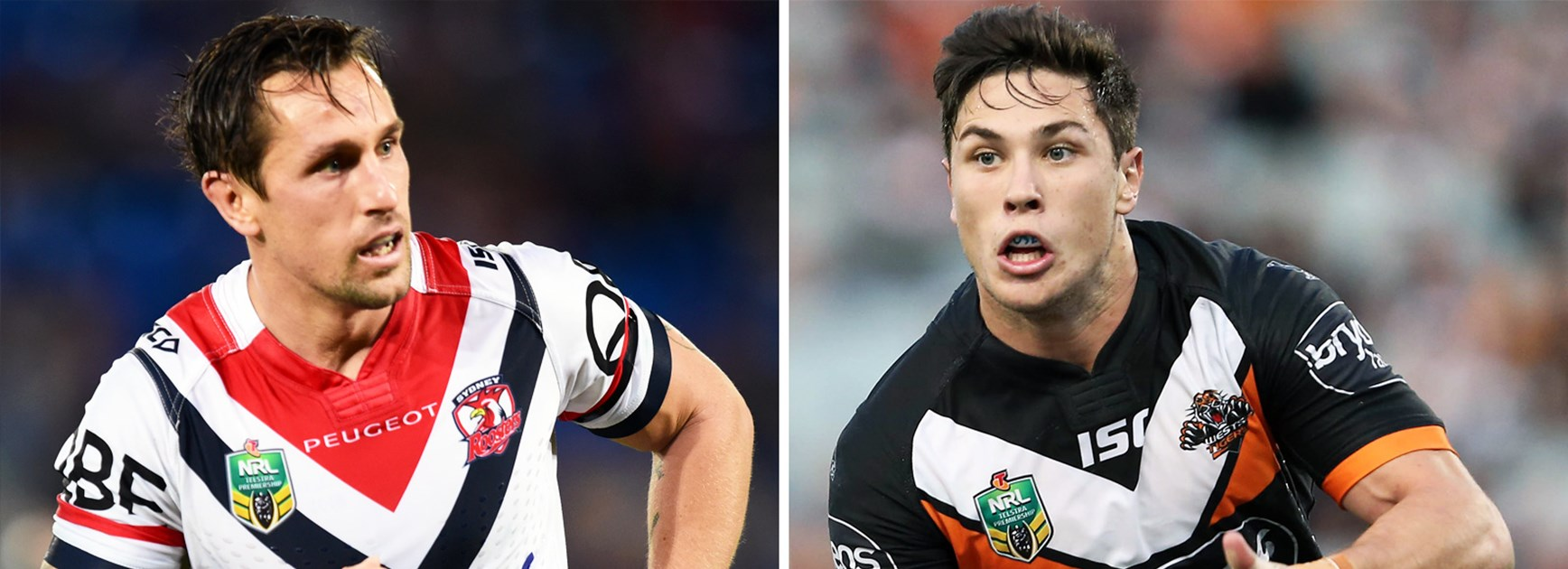 Prime Minister's XIII halves Mitchell Pearce and Mitch Moses.