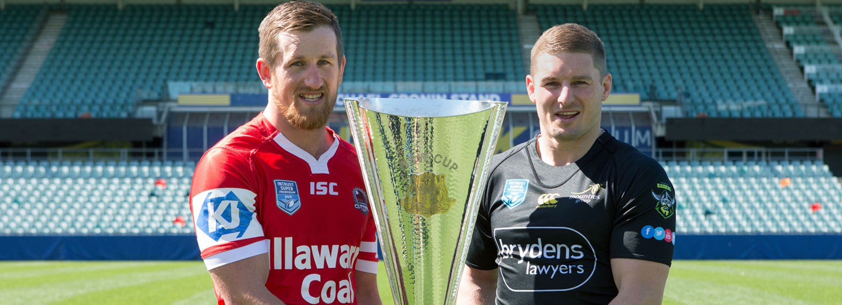 Josh McCrone and Glen Buttriss ahead of the 2016 Intrust Super Premiership Grand Final.