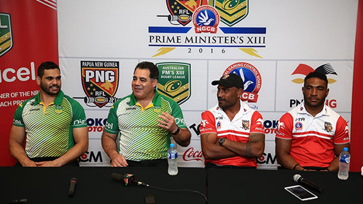 Australia's Greg Inglis and Mal Meninga with PNG's Michael Marum and Bernard Goma at the Prime Minister's XIII media call.