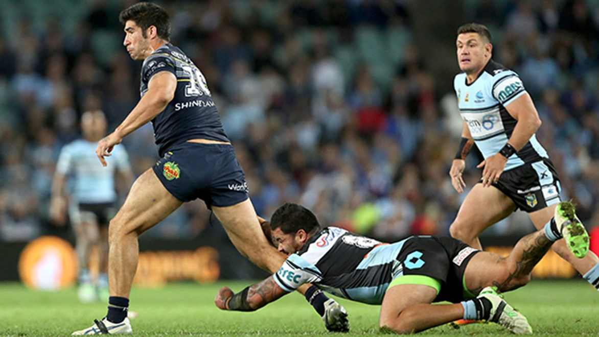 Cowboys prop James Tamou makes a run in the preliminary final against Cronulla.