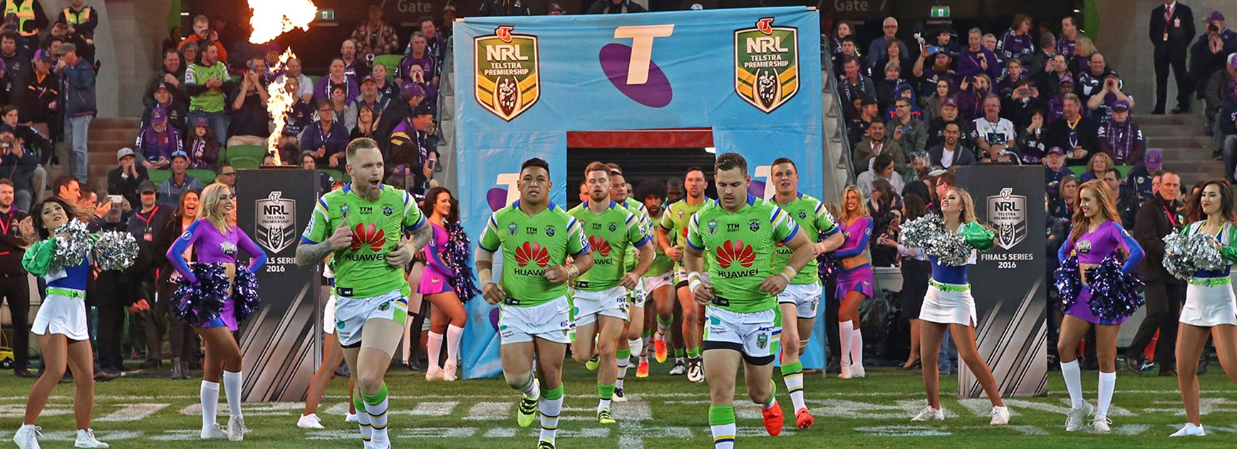 The Canberra Raiders run out on to AAMI Park to face the Storm in a preliminary final.