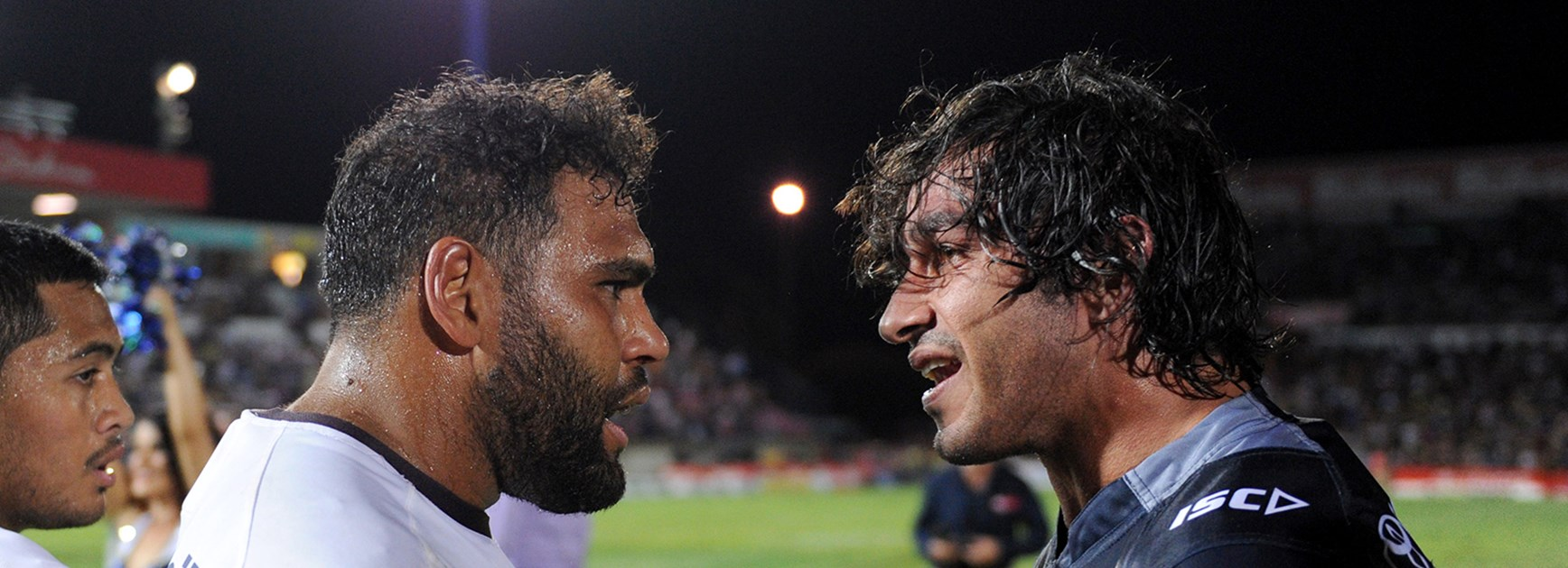 Sam Thaiday and Johnathan Thurston after the Round 11 clash between the Broncos and Cowboys.