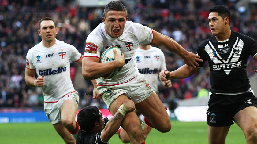 Sam Burgess in action for England against New Zealand.