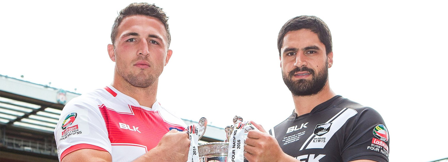 England skipper Sam Burgess and New Zealand captain Jesse Bromwich.