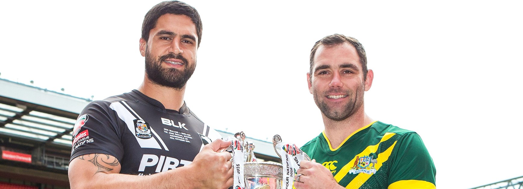 New Zealand captain Jesse Bromwich and Australia skipper Cameron Smith.