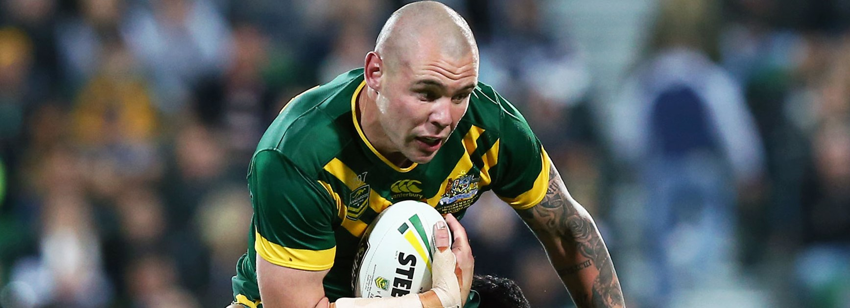 Kangaroos prop David Klemmer in action against the Kiwis.