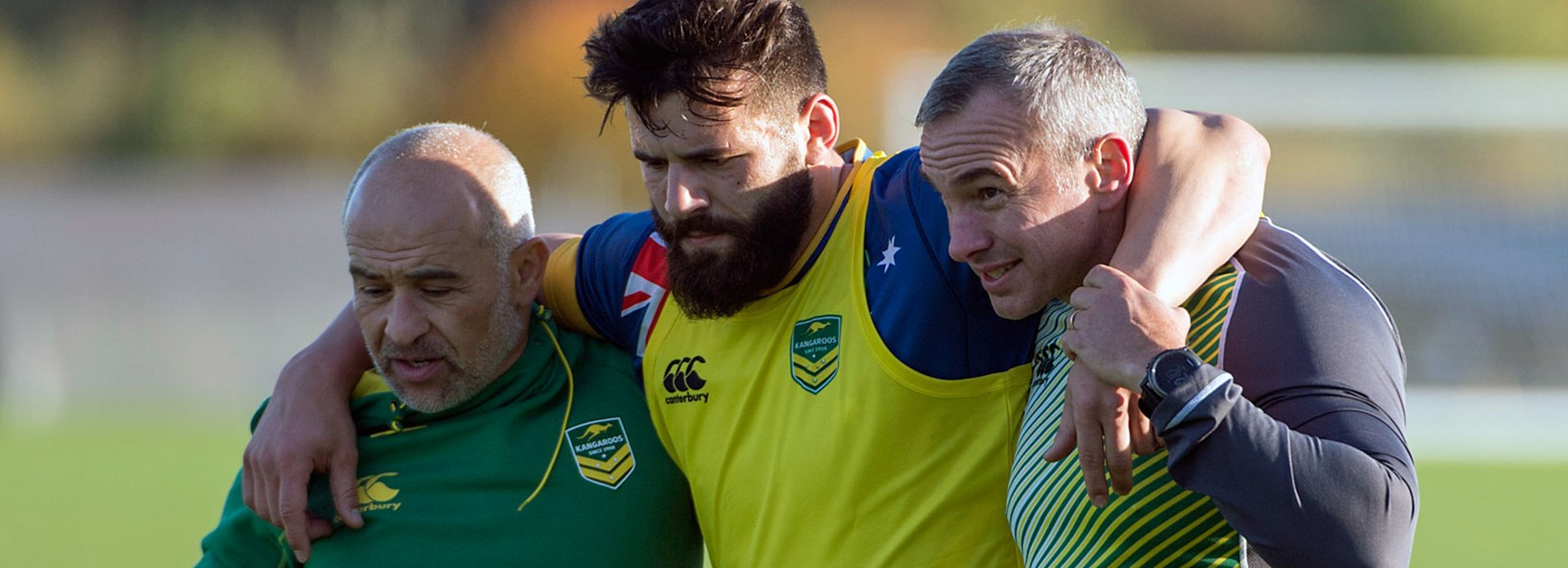 Kangaroos winger Josh Mansour was injured during training.