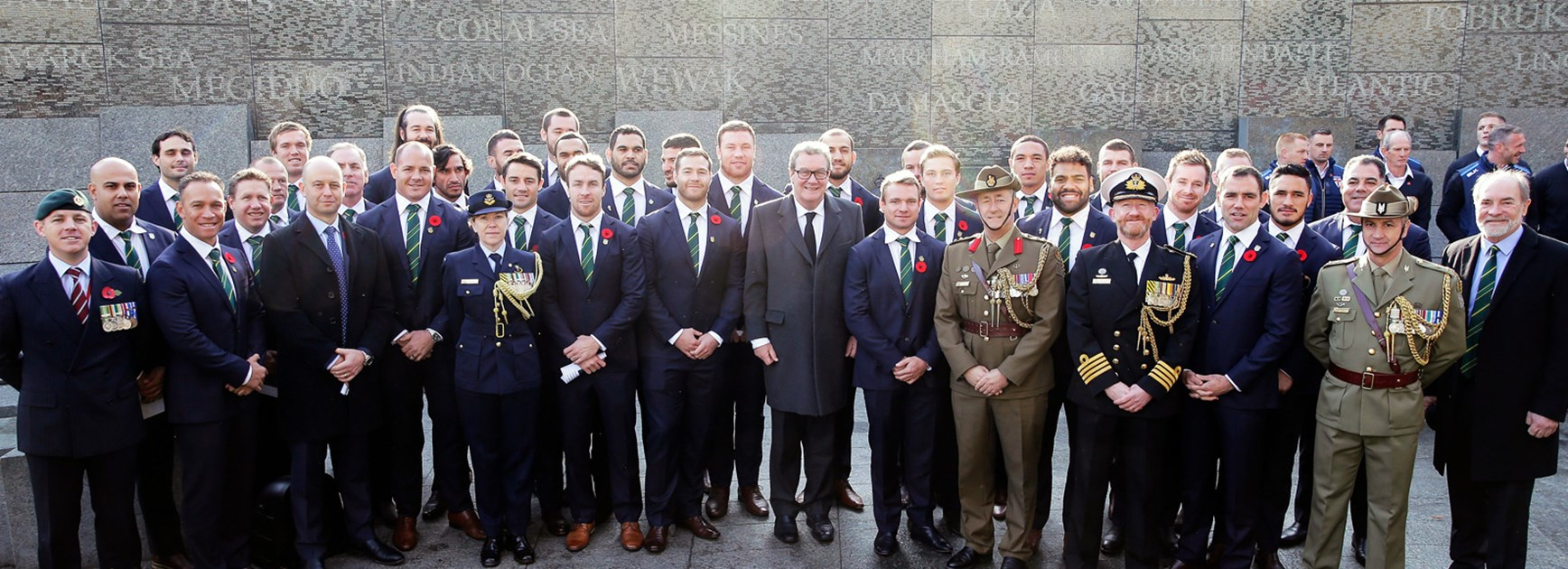 Kangaroos players and offiicals at the Australian War Memorial in Hyde Park in London.