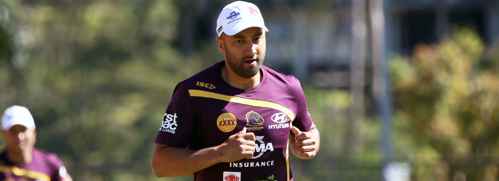 Benji Marshall hits the track during pre-season training with his new club the Broncos.
