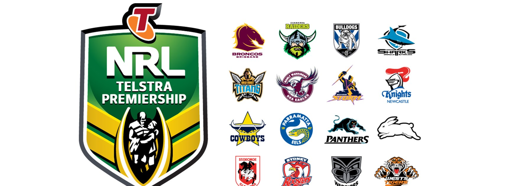 NRL Telstra Premiership logo and the 16 NRL club logos.