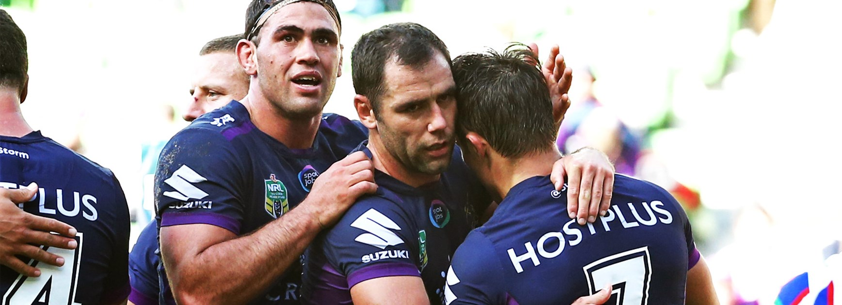 Cameron Smith and Cooper Cronk during Melbourne's Round 5 win over Newcastle.