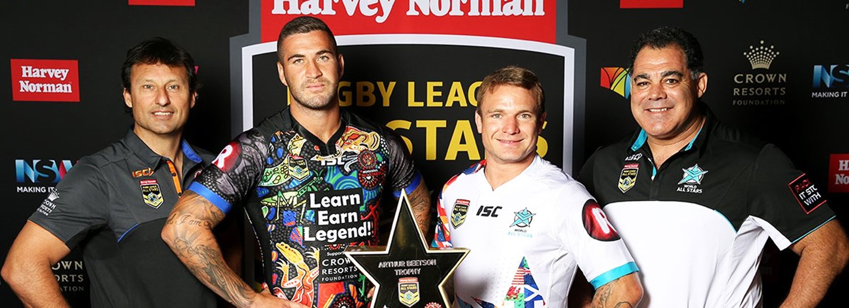 Indigenous All Stars coach Laurie Daley, Indigenous All Star Joel Thompson, World All Star Jake Friend and World All Stars coach Mal Meninga.