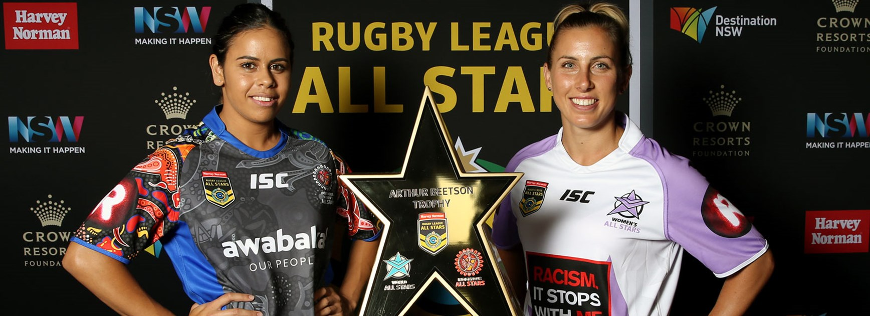 Nakia Davis-Welsh and Sam Hammond at the launch of the 2017 All Stars games.