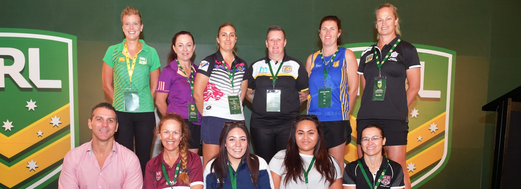 Jazmyn Taumafai (front row, second from right) at the NRL Coaches Conference.