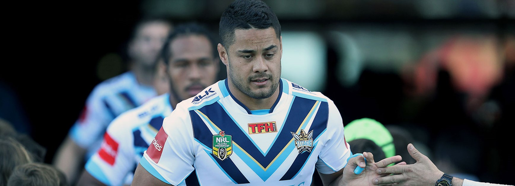Titans five-eighth Jarryd Hayne runs out onto Hunter Stadium.