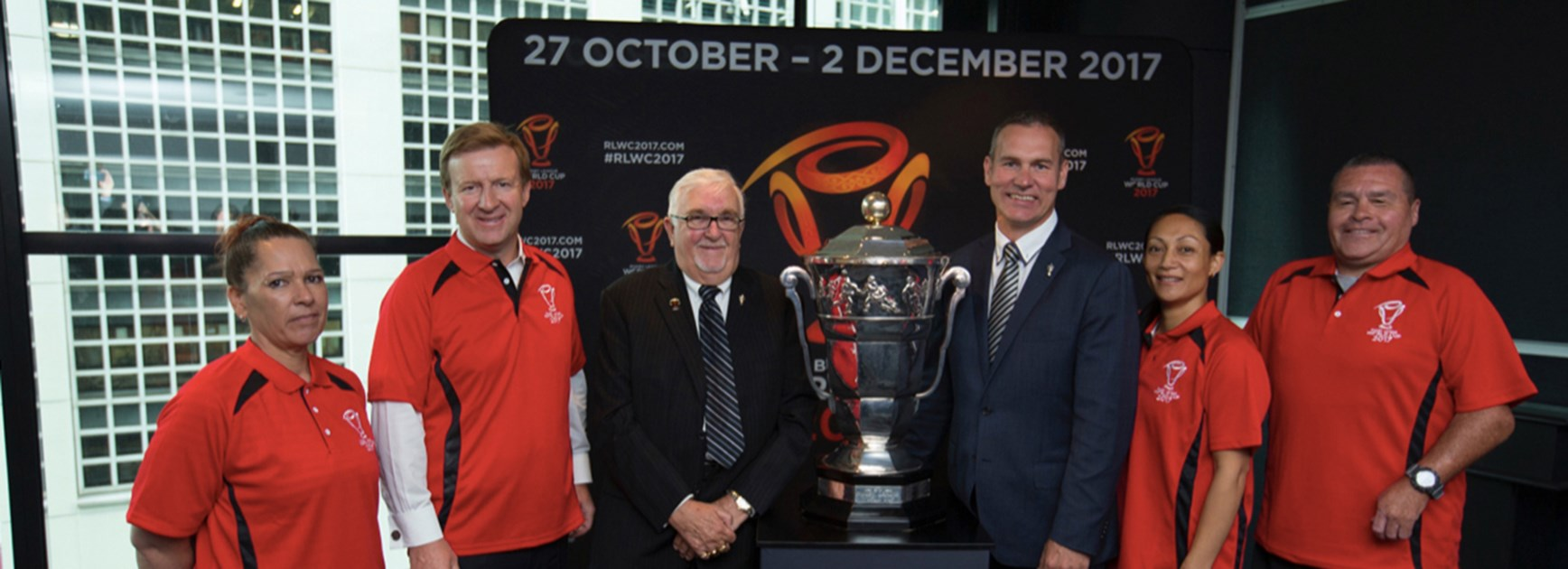 Dr Coleman, Sir Peter Leitch and RLWC2017 CEO Andrew Hill with RLWC2017 NZ Community Ambassadors.