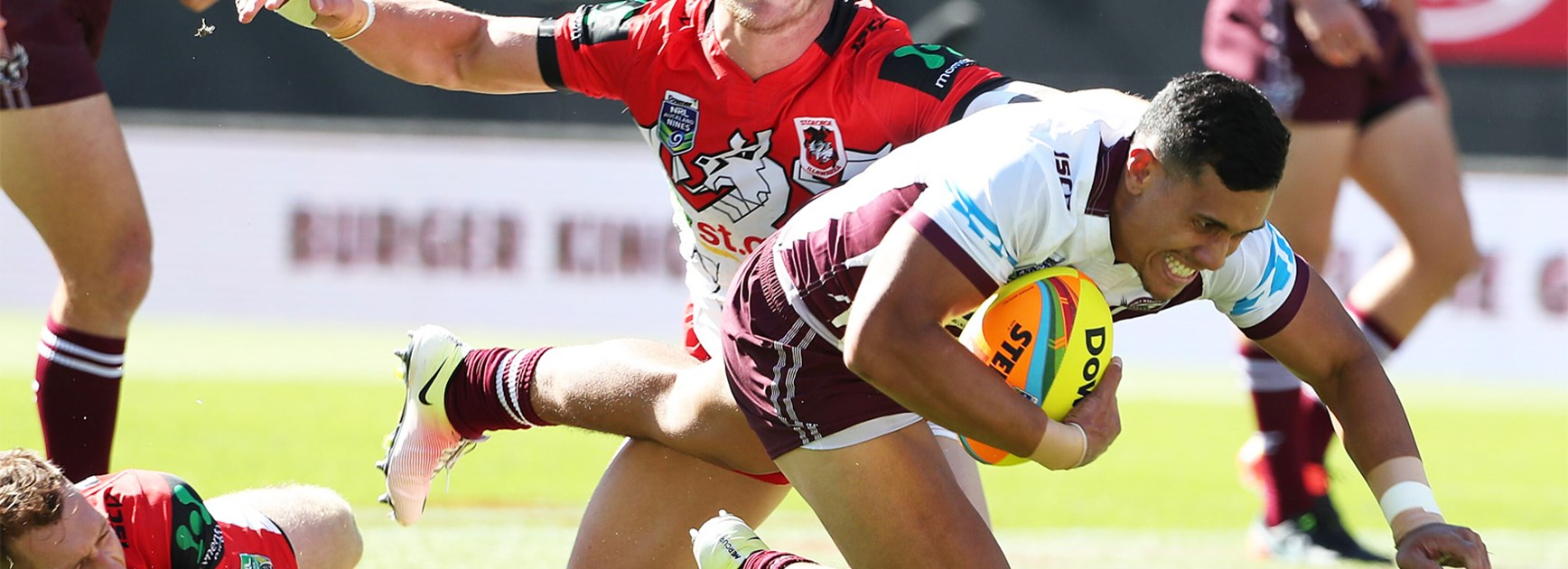 The Sea Eagles edged the Dragons 23-20 in their second match at the Auckland Nines.