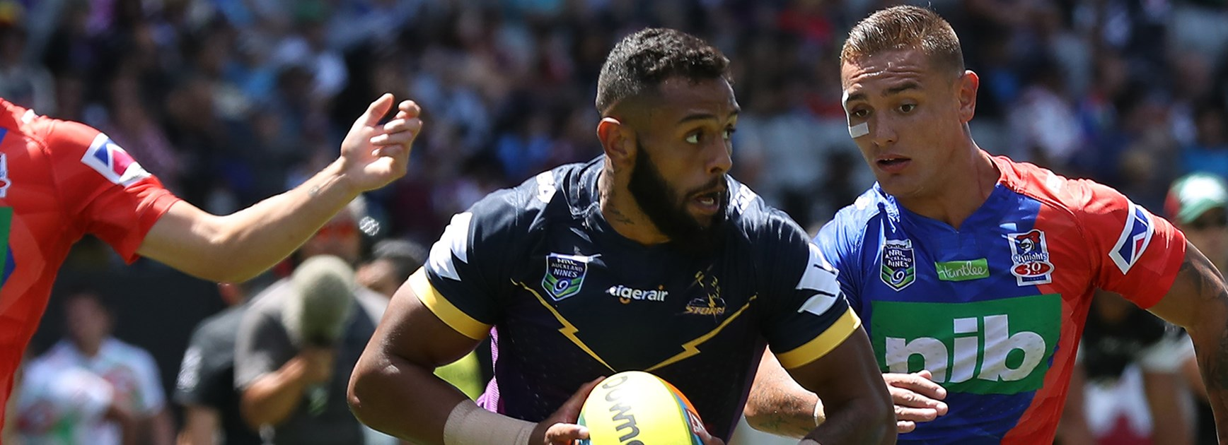 Storm winger Josh Addo-Carr in action against the Knights at the 2017 Auckland Nines.