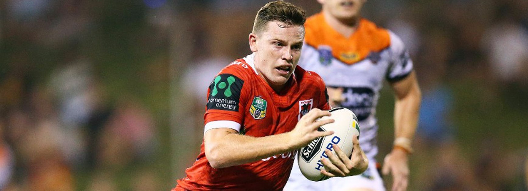 Young Dragons half Jai Field in action during the Red V's trial win over Wests Tigers.