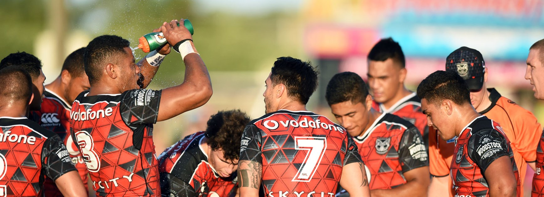 Warriors players during their trial against the Storm at Sunshine Coast Stadium.