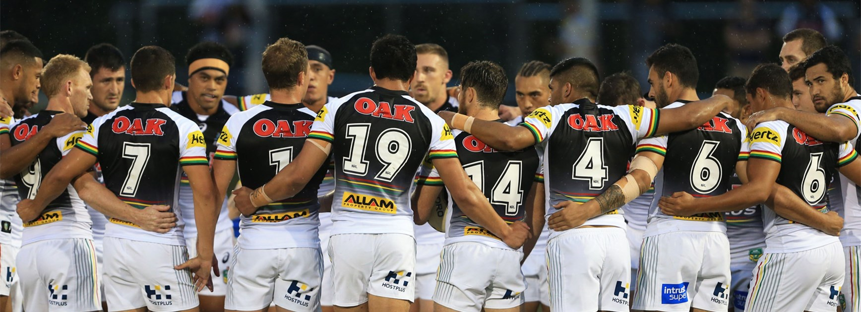 The Panthers go into a huddle ahead of their trial win over Parramatta.