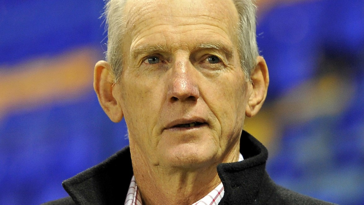 Wayne Bennett watches on as his Broncos go down to Warrington.