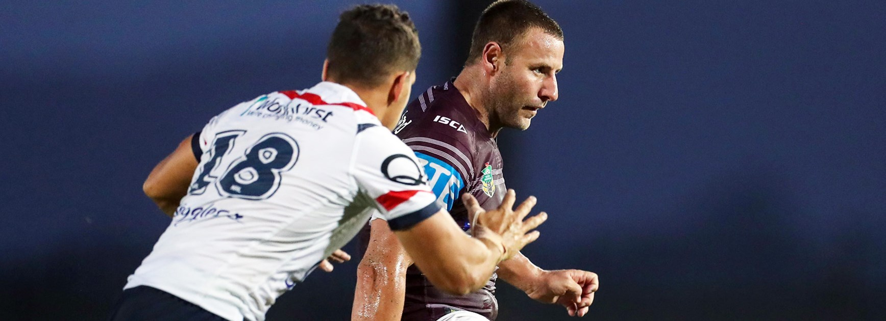 Sea Eagles recruit Blake Green in action against the Roosters.