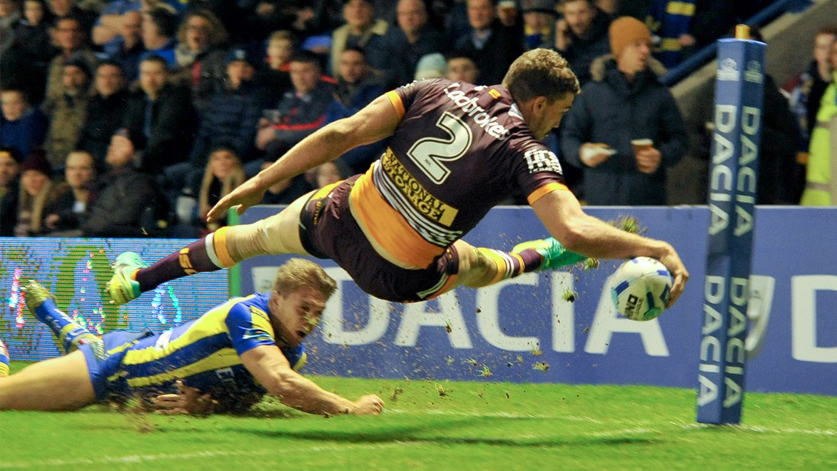 Corey Oates does well to score in the corner against the Warrington Wolves.