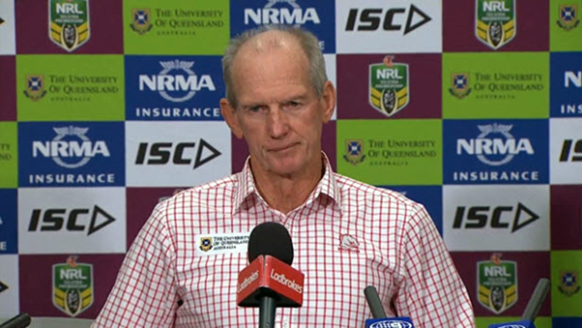Brisbane Broncos coach Wayne Bennett faces the media after his side's golden point loss to the Cowboys.