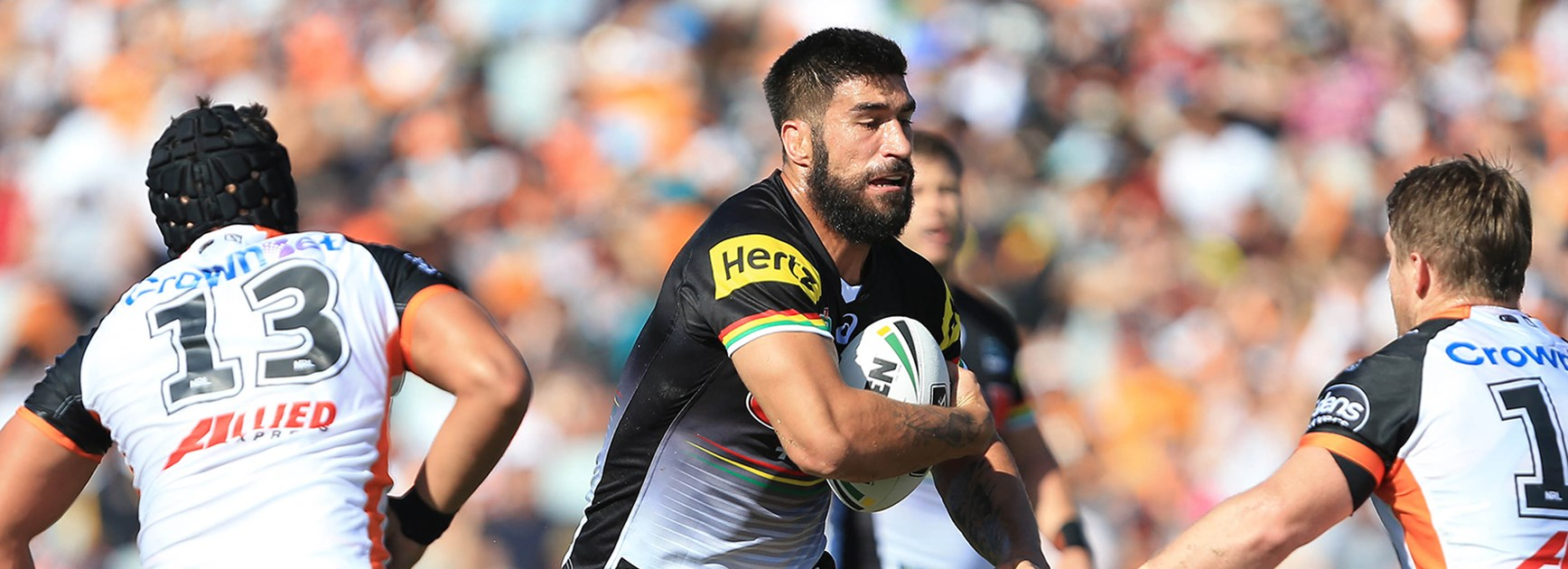 Panthers prop James Tamou takes a hit-up against Wests Tigers in Round 2 of the Telstra Premiership.