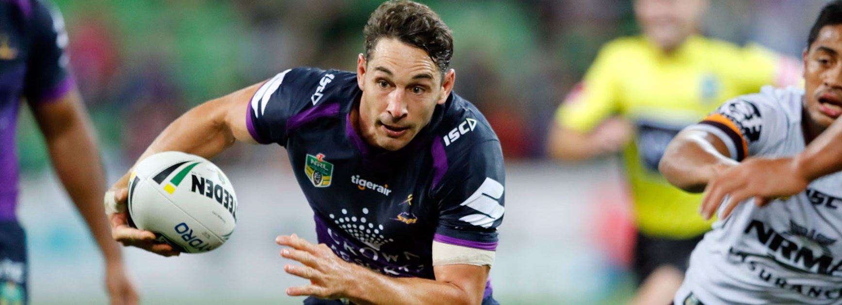 Storm fullback Billy Slater makes a run.
