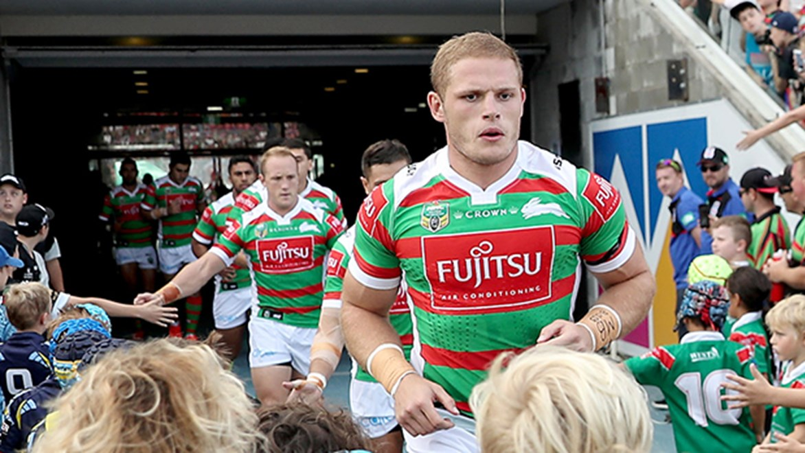 South Sydney prop George Burgess runs out against the Knights in Round 3 of the Telstra Premiership.