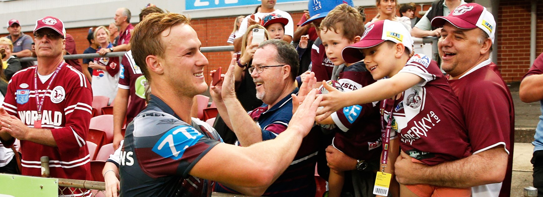 Daly Cherry-Evans greets Manly fans after the Sea Eagles' Round 4 win over Canterbury.