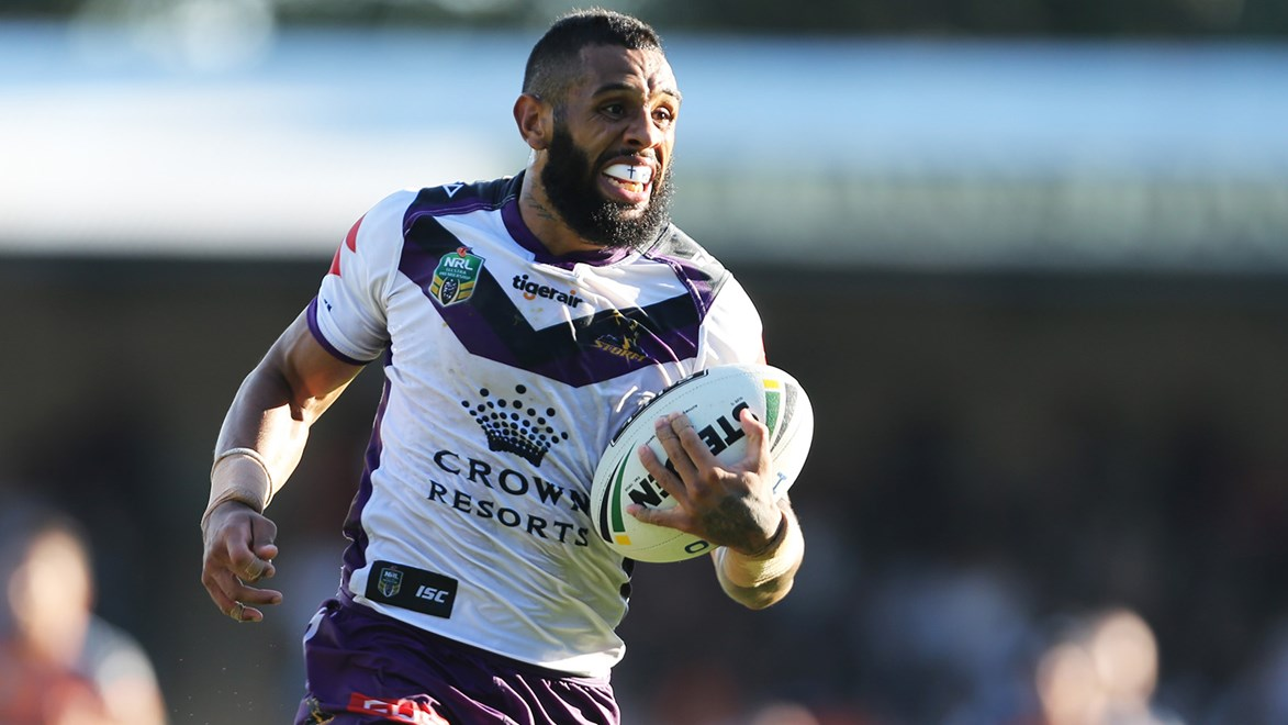 Josh Addo-Carr streaked away for an important try for the Storm against his former club.