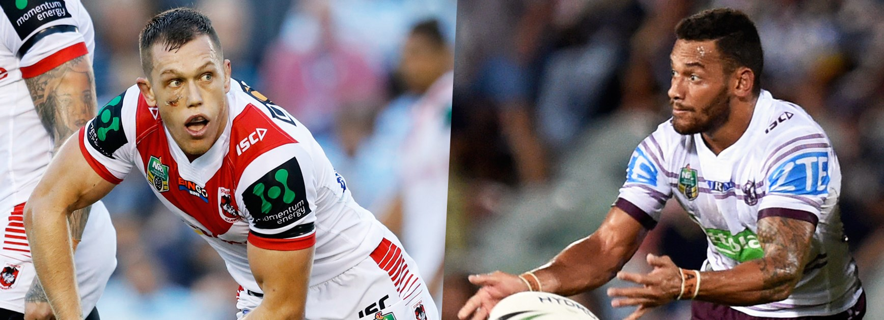 Dragons hooker Cameron McInnes and Manly rake Apisai Koroisau were once teammates and rivals at the Rabbitohs.