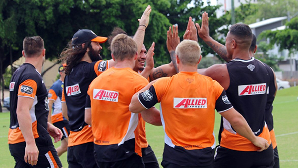 The Wests Tigers completed their captain's run in Townsville ahead of the clash with the Cowboys.