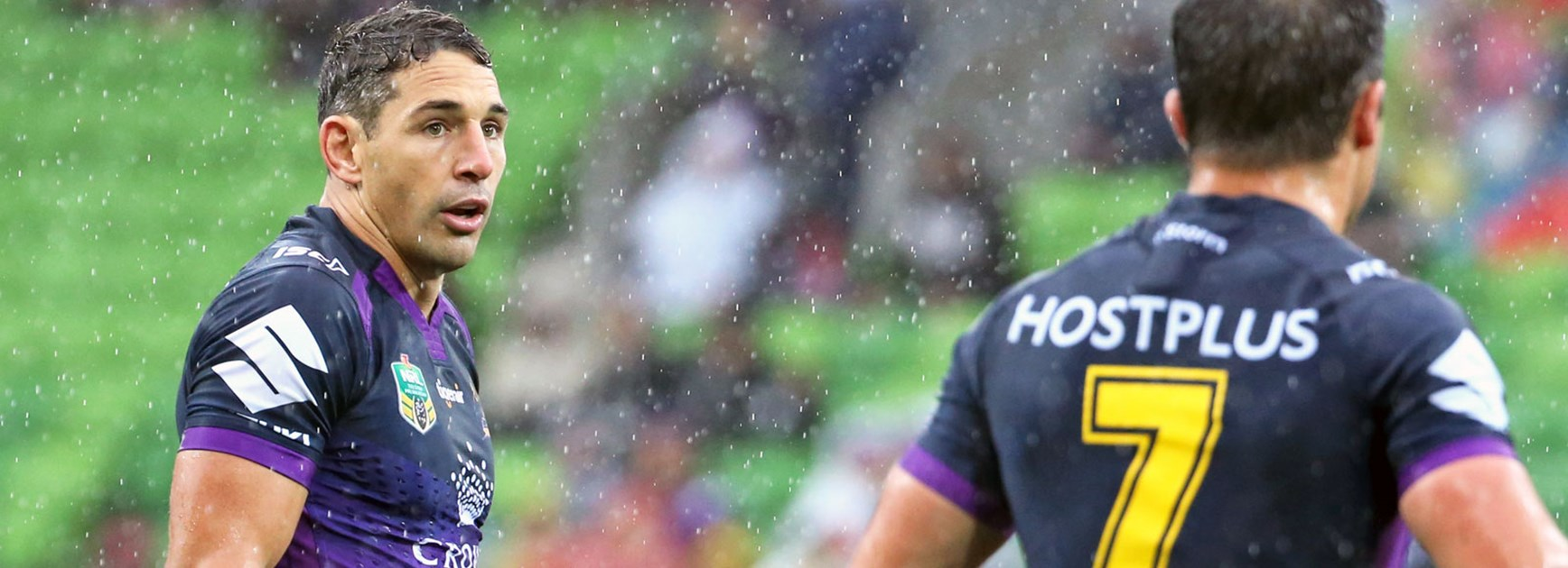 Storm fullback Billy Slater turns to Cooper Cronk during their side's loss to the Sharks.