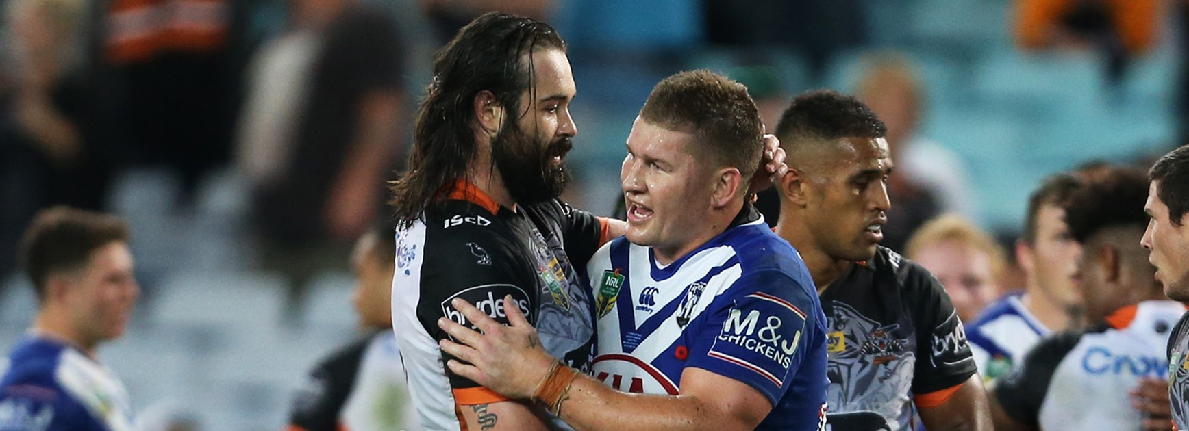 Aaron Woods and Greg Eastwood after the Wests Tigers win over the Bulldogs in Round 8.