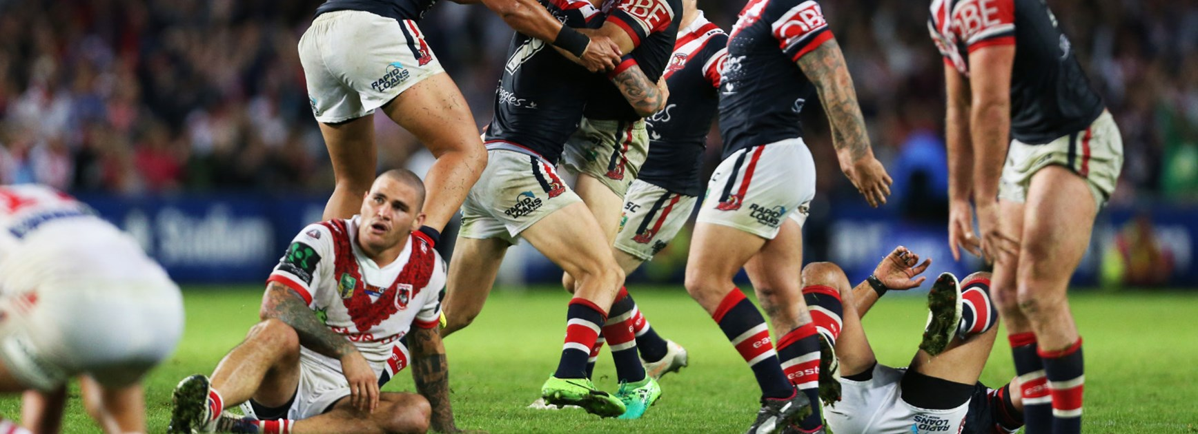 The Roosters celebrate Mitchell Pearce's golden point winning field goal on Anzac Day.