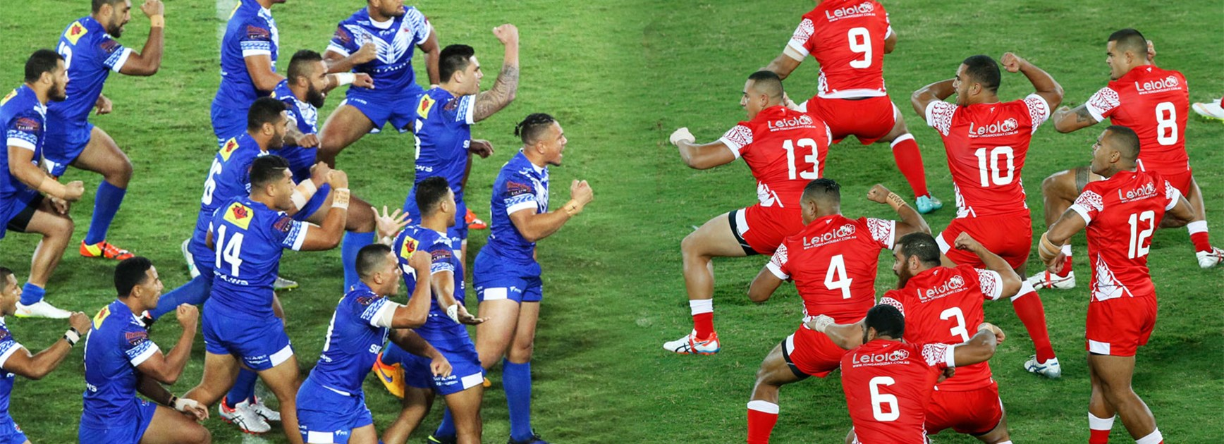 Samoa and Tonga face off with rival war dances.