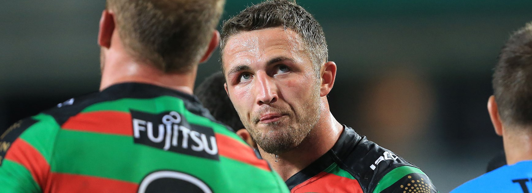 Rabbitohs lock Sam Burgess during South Sydney's loss to Manly.