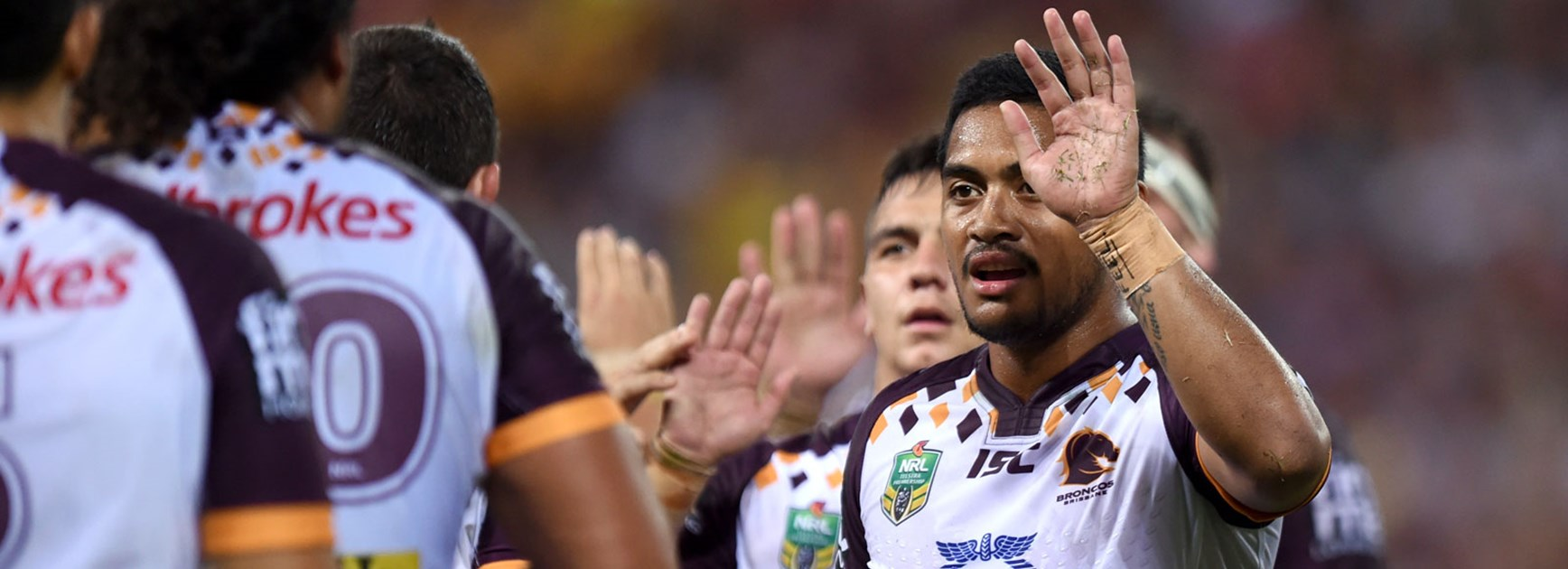 Anthony Milford celebrates during Brisbane's win over Gold Coast.