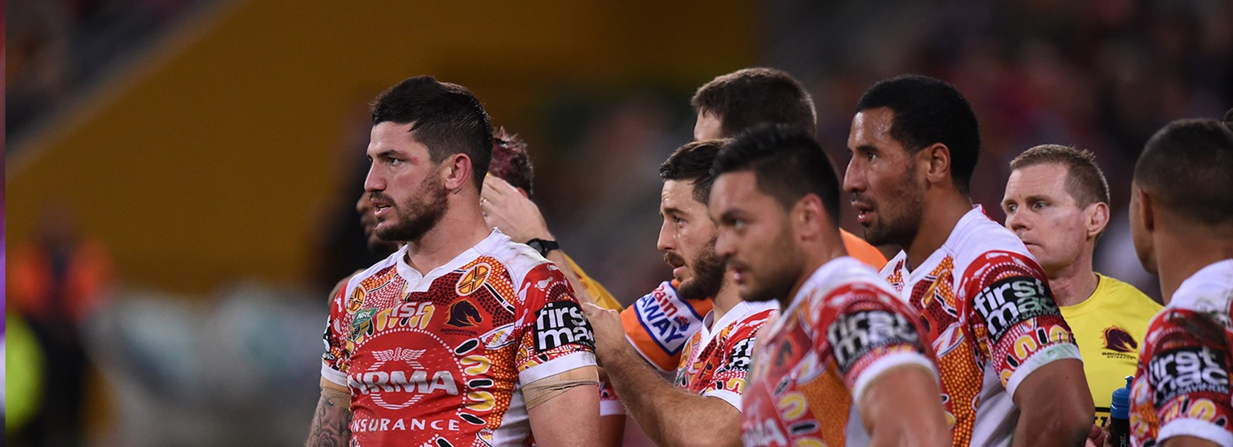 Broncos dejected after getting belted by the Storm in Round 17.