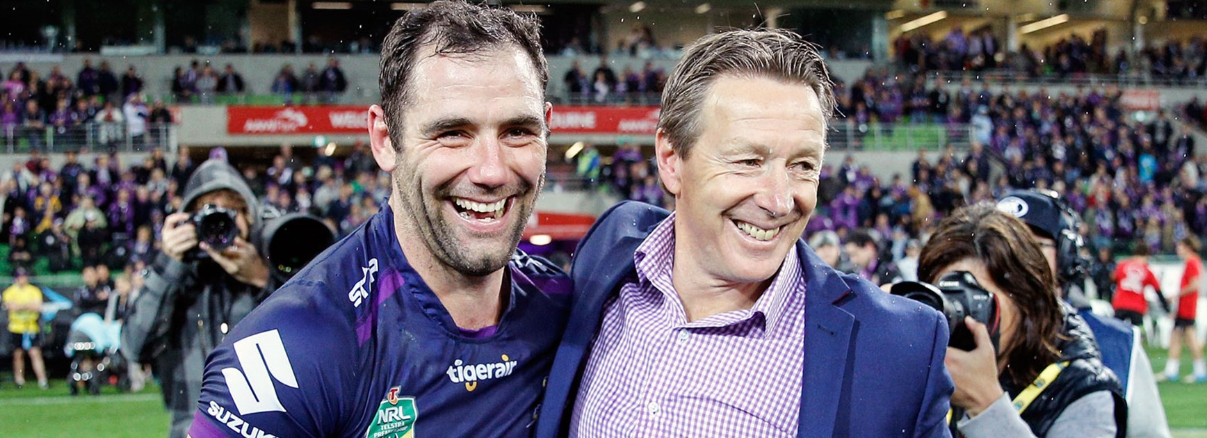 Storm captain Cameron Smith and coach Craig Bellamy following their side's Round 26 triumph over the Sharks.