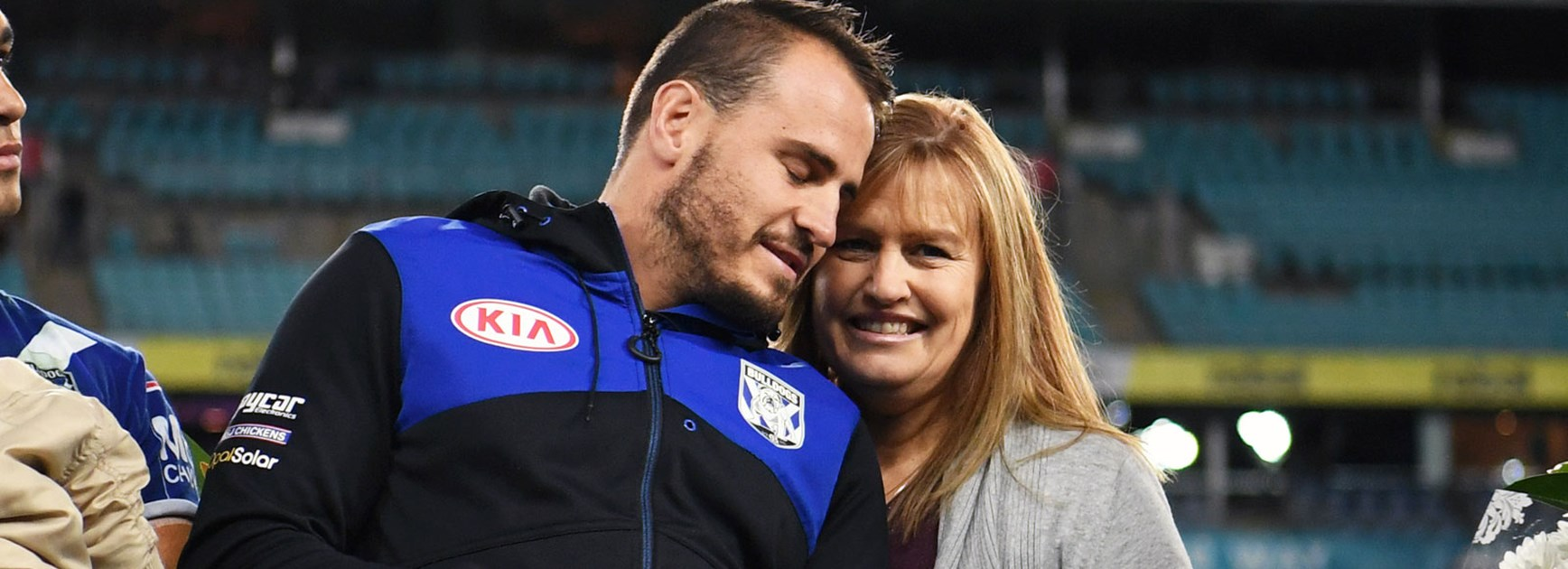 Josh Reynolds with his mother following the Bulldogs' last home game of the season.