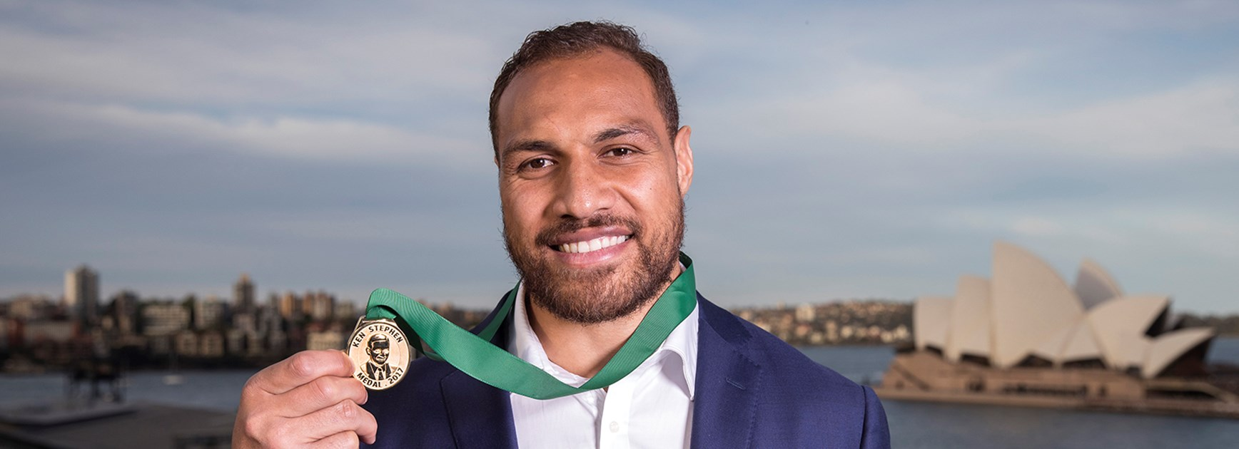 Cronulla Sharks forward Sam Tagataese has been awarded the 2017 Ken Stephen Medal for service to community.