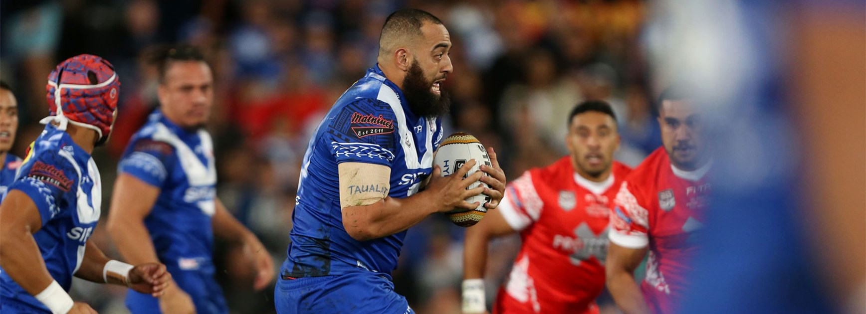 Frank Pritchard takes a hit-up for Samoa against Tonga on Saturday night.