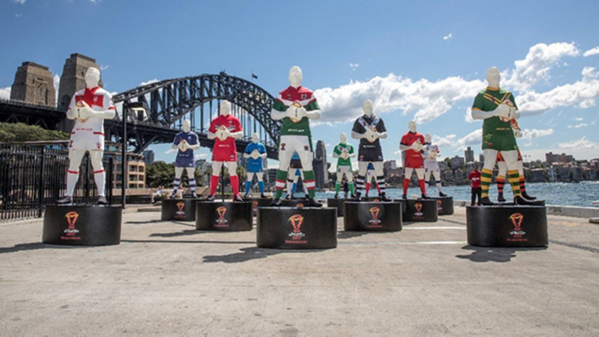 The unveiling of the 2017 Rugby League World Cup League of Giants at Circular Quay.